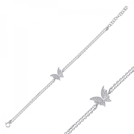 Bratara argint 925 rodiat cu fluturas si zirconii albe - Be Nature BTU00911
