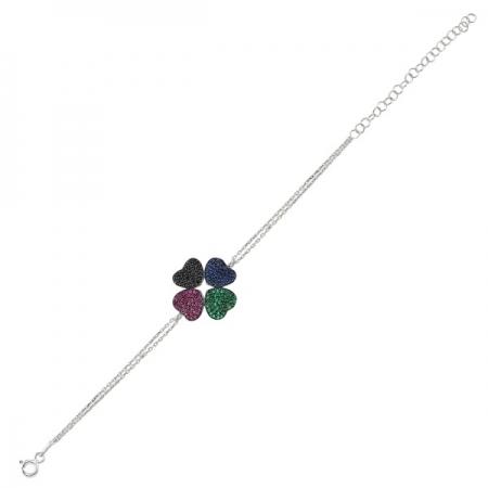 Bratara argint 925 rodiat cu frunza de trifoi - Be Lucky BTU00340
