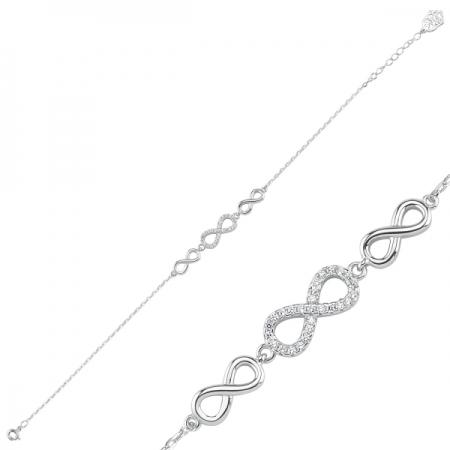 Bratara argint 925 rodiat cu simbolul infinit si zirconii - Infinite You BTU0100