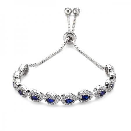 Bratara argint 925 rodiat cu zirconii albe si albastre - Be Elegant BSTU0031