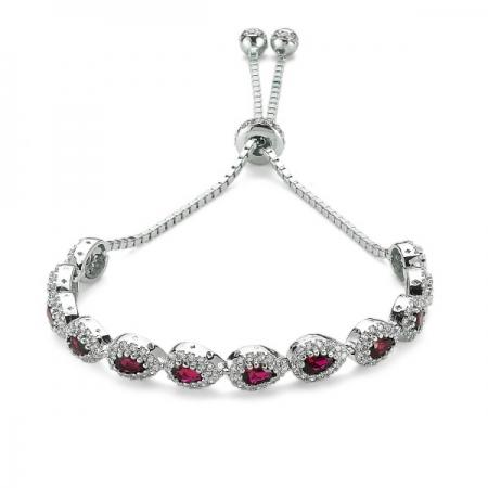 Bratara argint 925 rodiat cu zirconii albe si rosii - Be Elegant BSTU0032