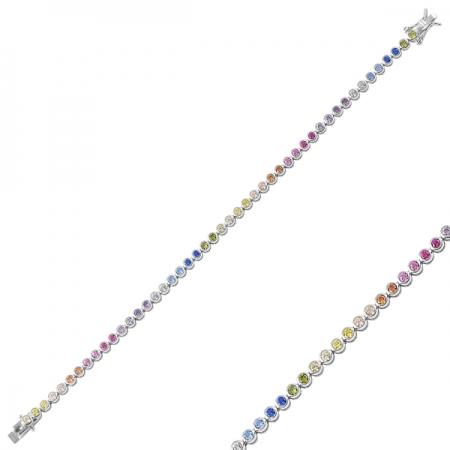 Bratara argint 925 tennis cu zirconii multicolore - Be Elegant BTU00871