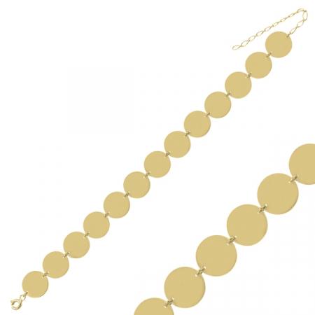 Bratara argint placata cu aur cu banuti - BTU0132