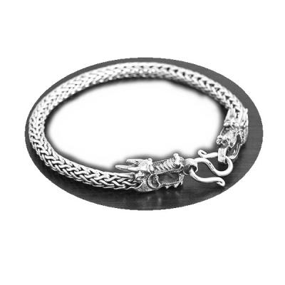 Bratara argint 925 cu dragoni si aspect vintage - Be Nature BRA07091