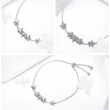 Bratara argint cu flori si cristale4