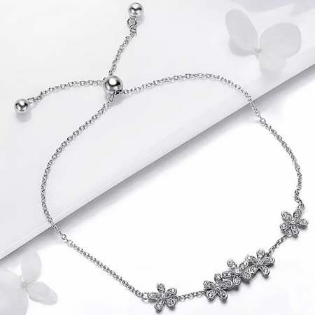 Bratara argint cu flori si cristale3