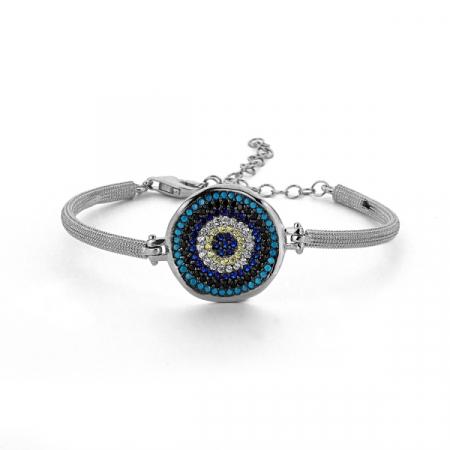 Bratara argint cu ochi turcesc din zirconii colorate  placat cu rodiu - BTU0134