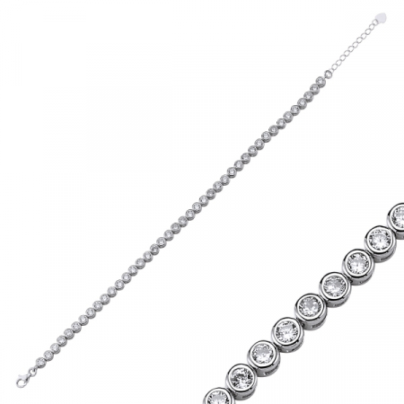 Bratara argint cu zirconii de 3 mm placat cu rodiu - BTU0127