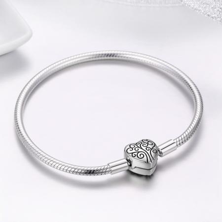 Bratara argint pentru talismane, cu inima [4]