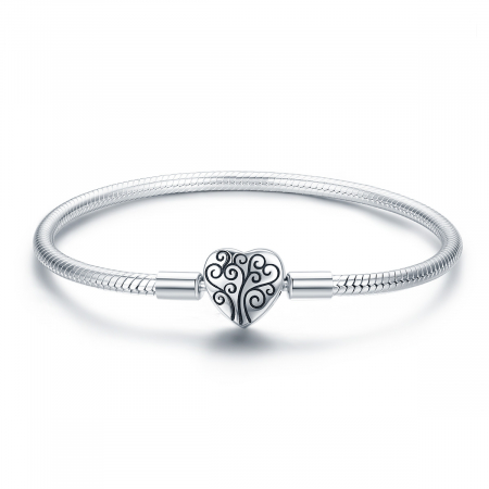 Bratara argint pentru talismane, cu inima
