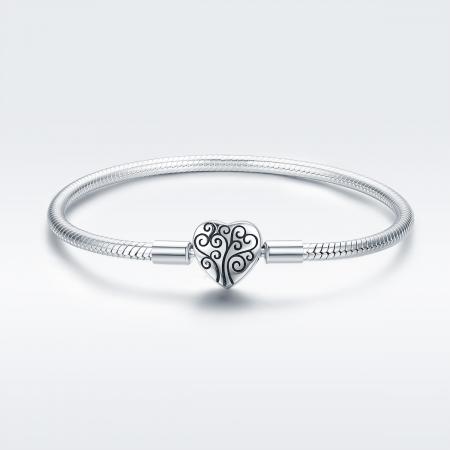 Bratara argint pentru talismane, cu inima [1]