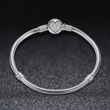 Bratara argint pentru talismane cu inimioara din cristale  [2]