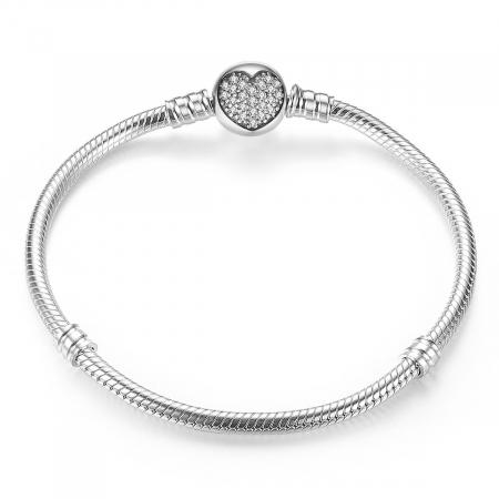 Bratara argint pentru talismane cu inimioara din cristale
