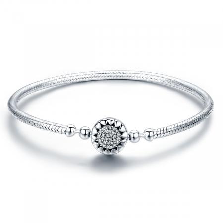 Bratara argint pentru talismane, cu zirconii