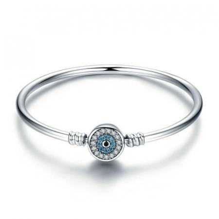 Bratara argint pentru talismane cu zirconii, cu ochi albastru