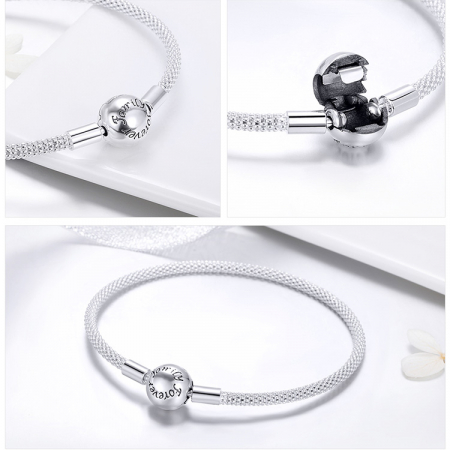 Bratara argint pentru talismane, gravata cu Forever Love1