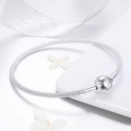 Bratara argint pentru talismane, gravata cu Forever Love3