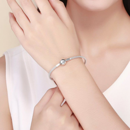 Bratara argint pentru talismane, gravata cu Forever Love2