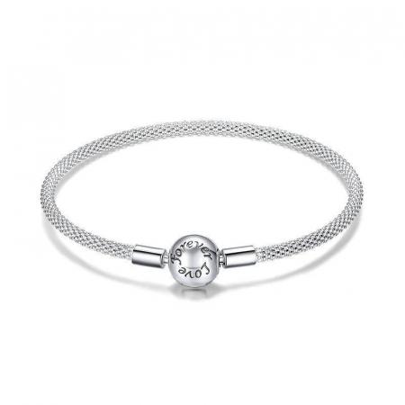 Bratara argint pentru talismane, gravata cu Forever Love