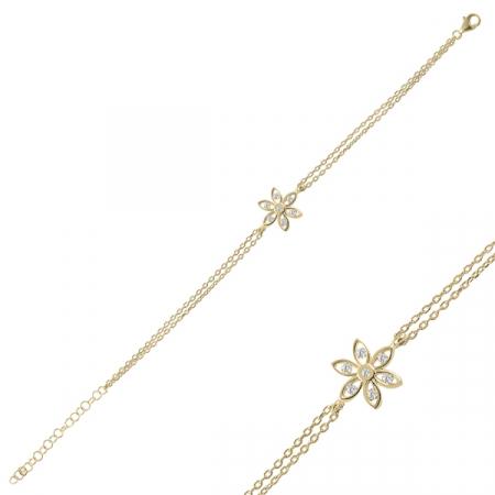 Bratara argint placata cu aur, cu floare si zirconii