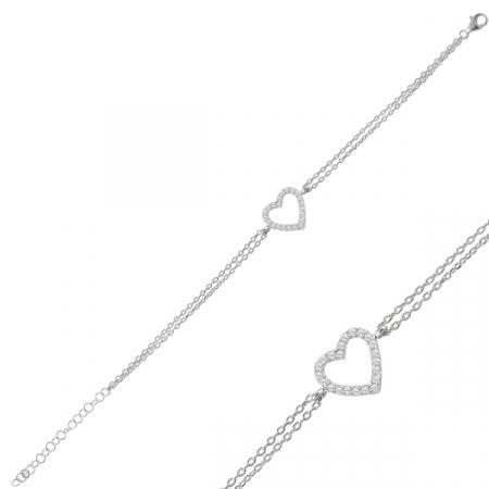 Bratara argint placata cu rodiu, cu inimioara si zirconii