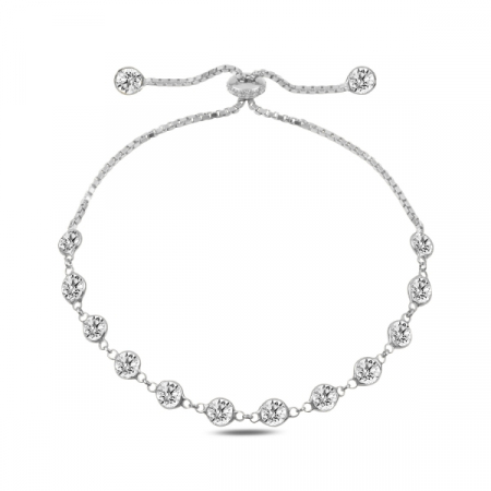 Bratara argint reglabila cu zirconii placat cu rodiu - BTU0129