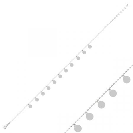 Bratara de picior din argint  cu pandante banuti placat cu rodiu - BTU0118