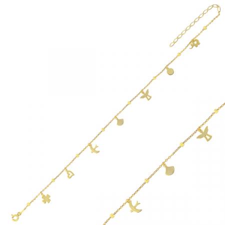 Bratara de picior din argint cu pandante cu diverse simboluri placat cu aur galben - BTU0117
