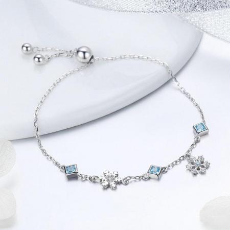 Bratara din argint cu fulgi de zapada si cristale [3]