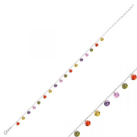 Bratara din argint placata cu rodiu cu zirconii multicolore