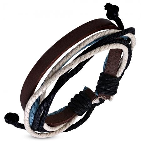 Bratara piele maro si snur albastru BSL3353