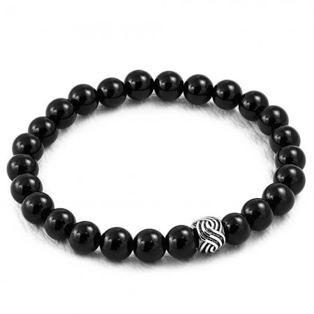 Bratara elastica cu agate negre si charm din inox