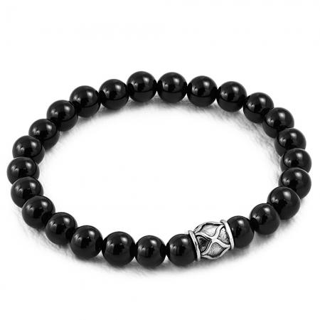 Bratara elastica cu agate negre si charm din inox [1]