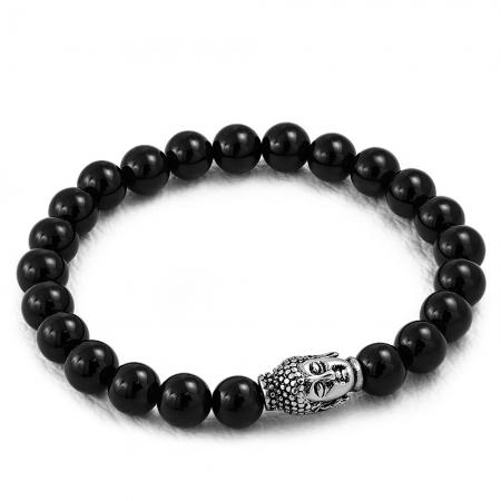 Bratara elastica cu agate negre si charm din inox cu Buddha
