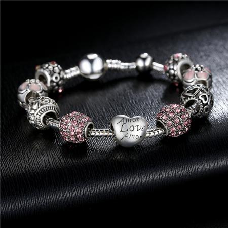 Bratara fantezie BeSpecial BSTF0008 placata cu argint, cu talismane roz4