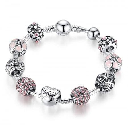 Bratara fantezie BeSpecial BSTF0008 placata cu argint, cu talismane roz