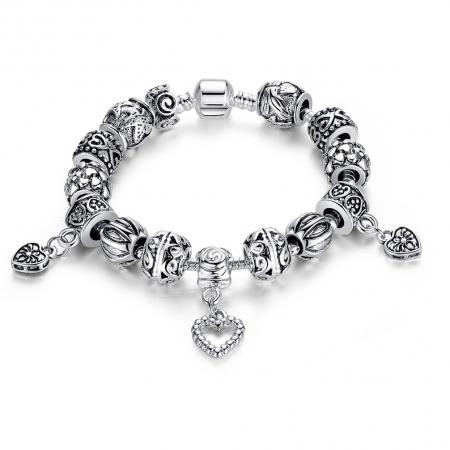 Bratara fantezie BeSpecial, BSTF0004, placata cu argint, cu talismane cu inimioare si flori