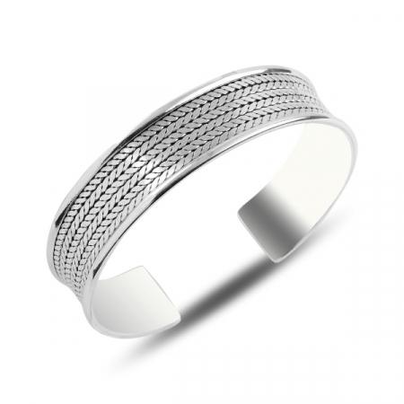 Bratara fixa din argint 925 model impletit - Lungime: 17,5 cm