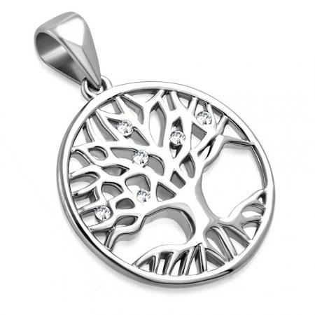 Pandantiv inox cu copacul vietii si zirconii albe PSL15121