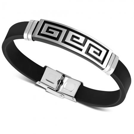 Bratara inox si cauciuc cu placuta decorata cu motive grecesti