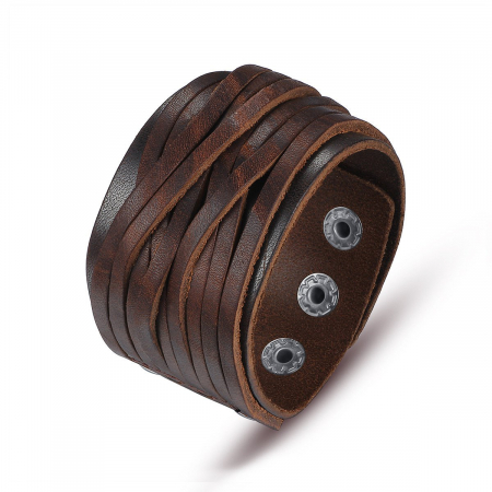 Bratara lata eleganta din piele naturala maro cu capse - BSTF0012
