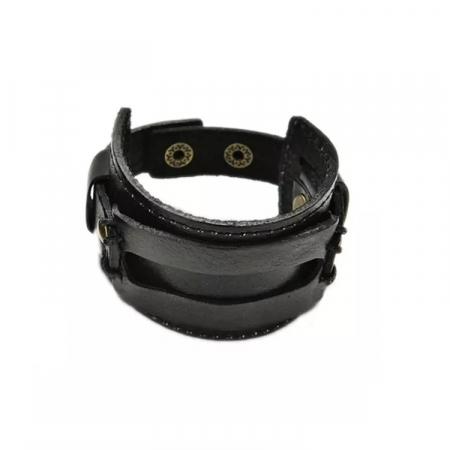 Bratara lata din piele naturala neagra cu capse - BSTF0015 [2]