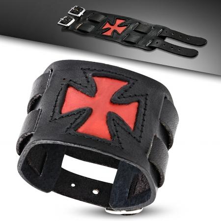 Bratara lata eleganta din piele neagra cu cruce rosie1
