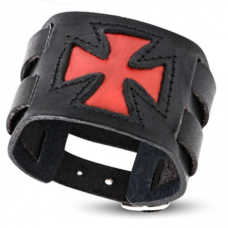 Bratara lata eleganta din piele neagra cu cruce rosie