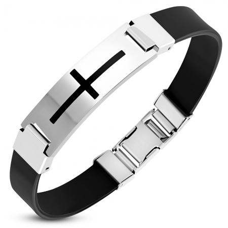 Bratara inox cu cauciuc negru si cruce latina BSL3371