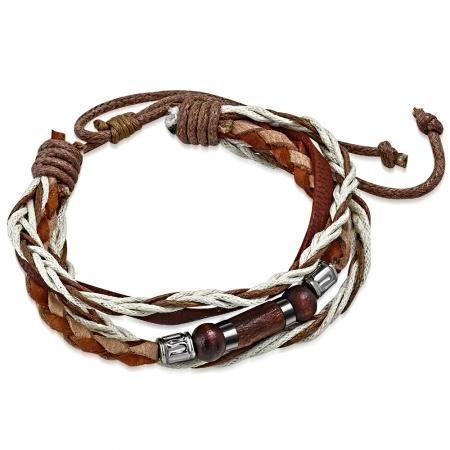 Bratara piele maro cu diverse accesorii din lemn si metalice BSL3326 [1]