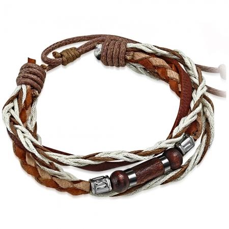 Bratara piele maro cu diverse accesorii din lemn si metalice BSL3326