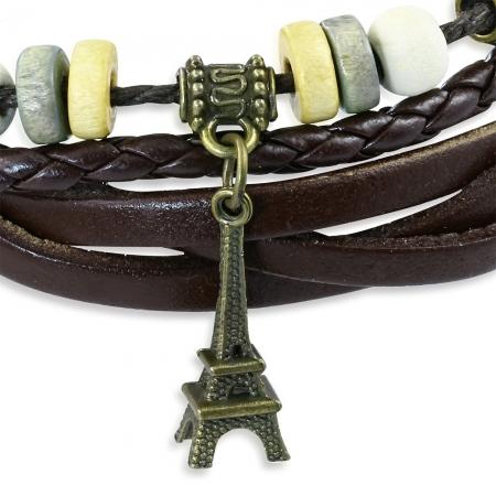Bratara piele cu pandant Turnul Eiffel BSL26421
