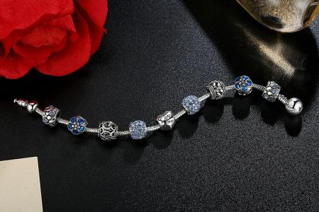 Bratara fantezie BeSpecial BSTF0002 placata cu argint, cu talismane albastre [4]