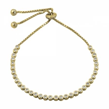 Bratara tenis din argint 925 aurit cu zirconii albe - Be Elegant BTU0114